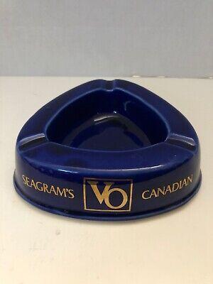 Vintage Porcelain Cobalt Blue Seagram S Vo Canadian Cigarette Ashtray Ebay
