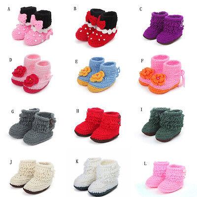 Newborn Infant Toddler Baby First Crib Shoes Boots Prewalkers Crochet Tassels