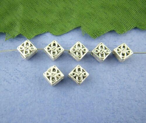 20 Perles intercalaire spacer /_ CARRE FLEUR relief 5x5x3mm /_ Apprêt bijoux /_A033