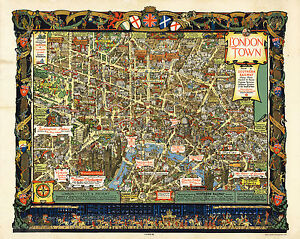 Map Of Central London To Print.Details About Pictorial Historical Map Central London Vintage Wall Art Poster Print Decor