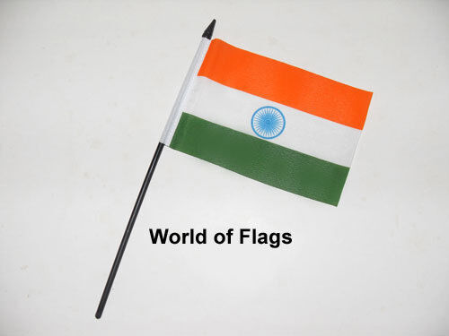 """INDIA SMALL HAND WAVING FLAG 6"""" x 4"""" Indian Asian Crafts Table Desk Top Display"""