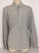 H&M L.O.G.G. Men's Size Large 3/4 Brown Striped Long Sleeve Button Up Shirt