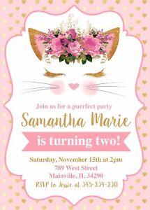 Cat kitten kitty pink gold birthday party invitation image is loading cat kitten kitty pink gold birthday party invitation filmwisefo