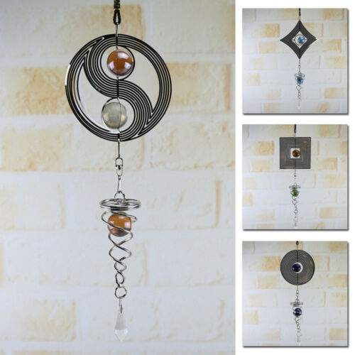 1* Wind Chimes Hanging Ornament Spinner Spiral Rotating Crystal Ball Yard Decor~