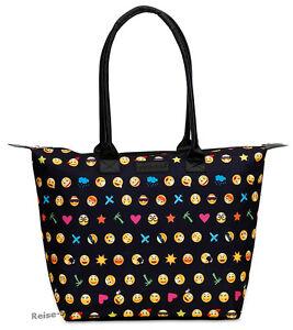 Emoticon Handtasche Shopper Smilies Mädchentasche Microfaser