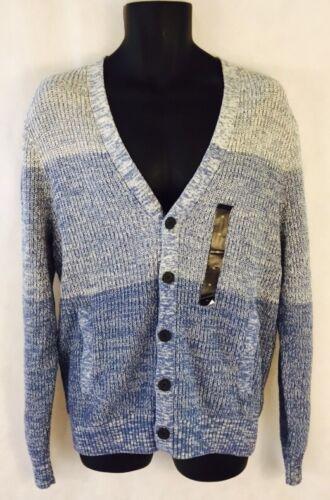 NWT Men/'s Banana Republic Blue Button Down Cotton Knit Sweater W// Pockets