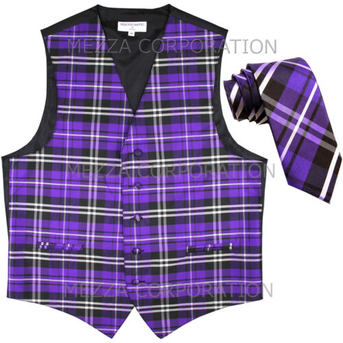 "New formal Men/'s plaid Tuxedo Vest/_2.5/"" Skinny Slim Necktie Purple wedding prom"