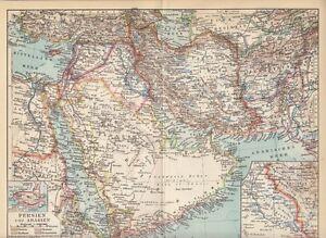 Persien Karte.Details Zu 1928 Persien Und Arabien Original Alte Landkarte Karte Antique Map Persia Arabia