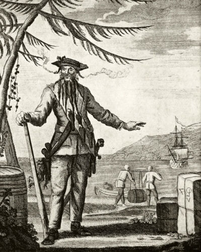 Prints of vintage 18c b/&w engraving Blackbeard Pirate /& Treasure Ship