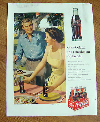 1953 Coke Coca-Cola Ad Barbecue Cook-Out Theme 1953 Armstrong Asphalt Tile Ad