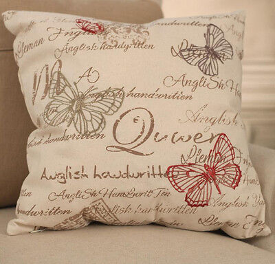 Cream Butterfly Script Cushion Cover French Throw Pillow Home Decor BRAND NEW