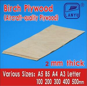 Aircraft Grade Birch Plywood Sheet 2mm thick for Model, Craft, Pyrography
