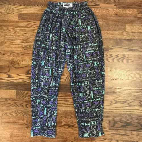 Vintage Crazee Wear USA Pants Workout 90s Printed… - image 1