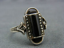 schöner alter Ring 925/-Silber Onyx,Markasiten ca. um 1910