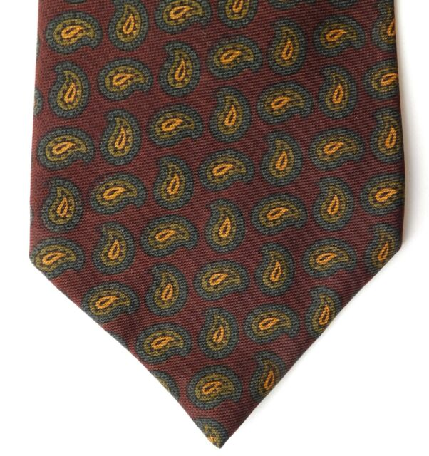 Vintage 1960s Harrods English tie hand printed silk Paisley pattern Michelsons