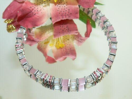 Pulsera de cuero 3 fragmentos Chunk click button pulsador 18-22 cm rosa #4114