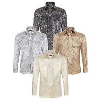 Men's Satin Paisley Pattern Italian Designer Shirt With Matching Tie Set