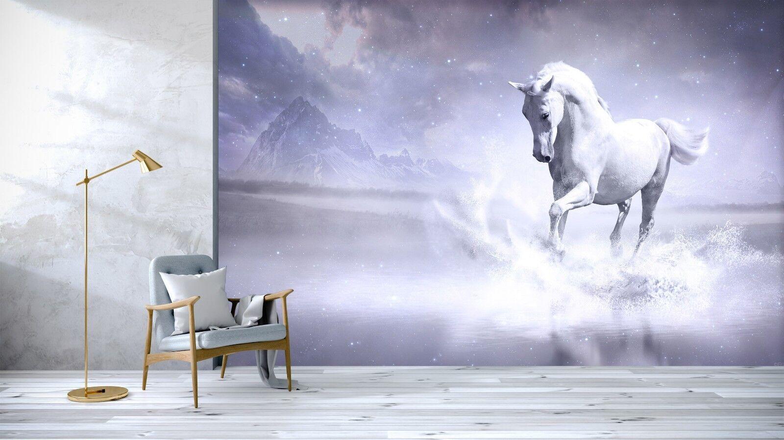 3D Horse River Stars Sky 54 Wall Paper Wall Print Decal Wall Deco Indoor Murals
