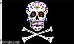 Pirate Jolly Roger Skull and Crossbone Sugar Skull 5'x3' Flag