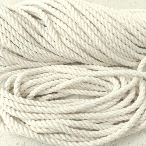 Macrame Artisanat 10 mm x 10 m Blanc Naturel Pur non traitée en coton corde Sac Poignée