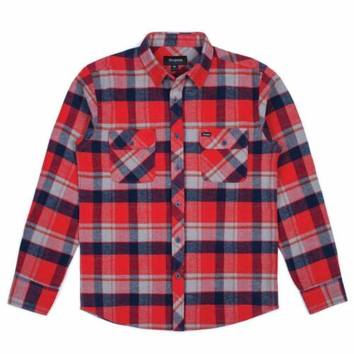 Shirt Bowery Heather Navy Long Brixton Red Sleeve Flannel OnHBBF