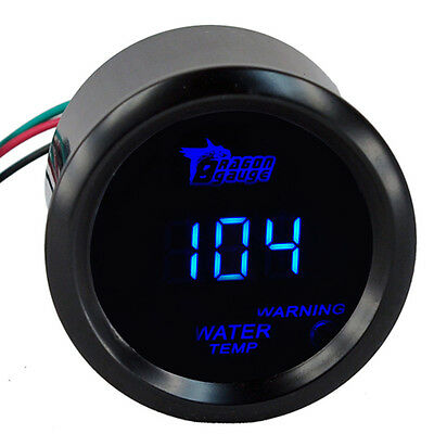 "2"" 52mm Car Blue LED Light Digital Water Temp Fahrenheit Gauge Meter Black Cover"