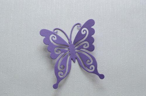 12 Set 3D Schmetterlinge Lila  Wanddeko Scrapbooking Hobby Basteln