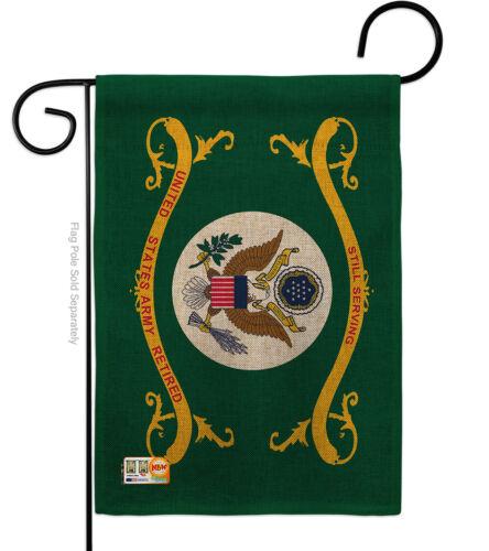 Impressions Decorative Garden Flag G142354-DB Retired Army Burlap