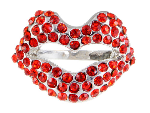 Lápiz labial rojo fuego Rouge Labial Kiss Me Smooch elegante Rhinestone Anillo de Dedo Lindo