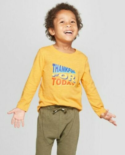 "5T NWT Cat /& Jack Baby Toddler Boys Shirt /""Thankful For Today/"" Yellow 12Months"