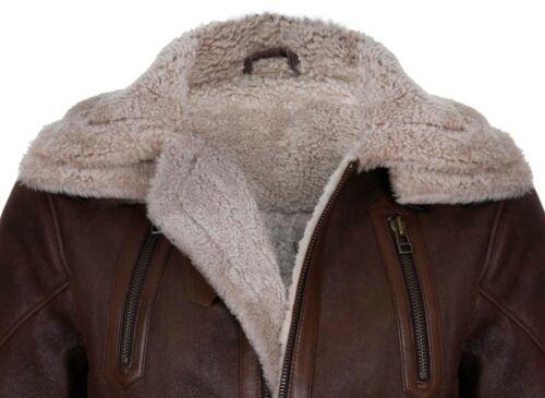 Homme Marron 3/4 Chaude Merino Véritable Cuir Peau de Mouton Fashion Reefer