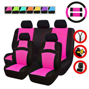 Universal-Car-Seat-Covers-Rose-Red-Black-Steering-Wheel-Cover-For-Honda-Hyundai