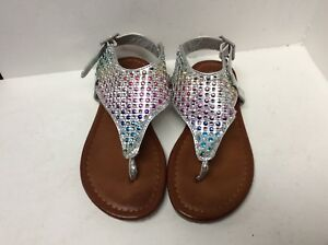 e3fe34cf9afcb Girl shoes flip flops kids size 11 silver brown bling Hot Tomato ...