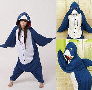 7a4ab22f60 Image is loading Kigurumi-Shark-Anime-Cosplay-Pyjamas-Costume-Hoodies-Adult-