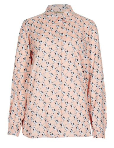 Ex Marks and Spencer Bird Print Long Sleeve Shirt Size 8-24 X3.16