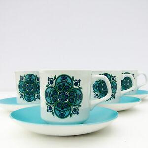 Vintage-Retro-1960s-1970s-J-G-Meakin-Studio-Impact-Coffee-Tea-Set-4-Cups-Saucers