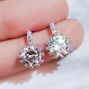 Gorgeous Silver Plated Drop Earrings for Women White Sapphire Jewelry A Pair//set