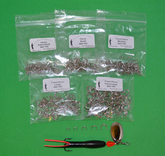 100 x Clevis Small, Med or Large Game Fishing Lure Spinner Components Flying C