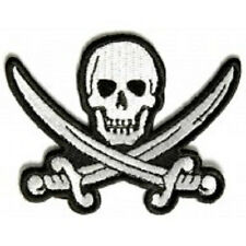 WHITE PIRATE SWORD SKULL EMBROIDERED PATCH