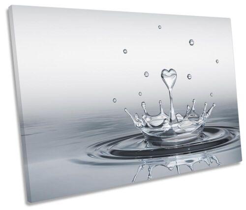 Heart Drop Splash Bathroom Picture SINGLE CANVAS WALL ART Print Grey