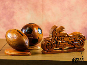 3D-Novelty-Football-Rugby-Bike-Wooden-Jigsaw-Puzzle-Ornament-Adult-Brain-Teaser