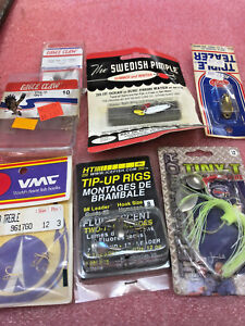 F6-Lot-of-misc-Ice-fishing-summer-tackle-lures-Swedish-pimple-tip-up-rigs-etc