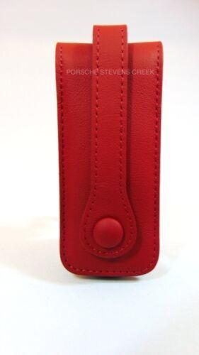 Porsche Leather Key Case Pouch Holder with Porsche Crest in CARRERA RED OEM