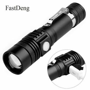 Lampe-Torche-Militaire-LED-Lampe-De-Poche-Rechargeable-USB-Zoomable-EtancheLight