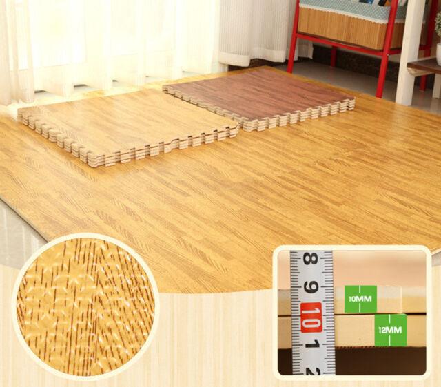 Gray Wood Grain Flooring 18Pcs Thick Floor Tiles Foam Mats Kid Crawling Mat