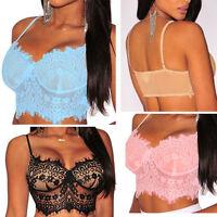 Sexy Women's Lace Floral Bralette Bralet Bra Bustier Crop Top Cami Unpadded Tank