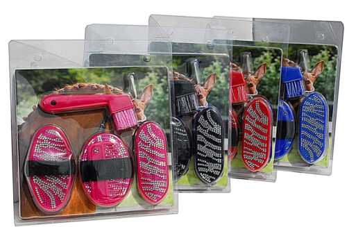 4 Colours Rhinegold Glitter Junior Grooming Kit Pony Grooming Brush Set