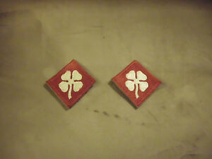 VTG-Pair-WWII-WW2-World-War-2-White-Clover-Patches-4th-Army-Shoulder-Insignia