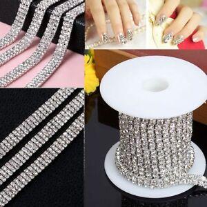 1-row-2-row-3-row-1-Yard-DIY-Silver-Crystal-Rhinestone-Close-Chain-Trim-Fashion