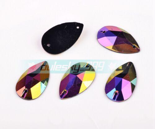 100pcs Facetado flatback Resina En Forma De Lágrima De Coser Sew en los botones coloreado 28x17mm
